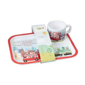 Wheels On The Bus Rectangular Feeding Tray & Cup